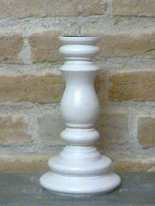 Svietidlá a sviečky - Drevený svietnik biely - 6468598_
