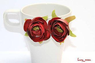 Náušnice - Náušničky kvetinky-bordovočervené :) - 6471664_
