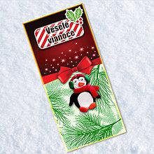 Papiernictvo - Dlhá vianočná pohľadnica (tučniačik) - 6471933_