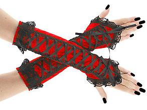 Rukavice - Dámské zamatové červené rukavice s korzetovým šnurovaním 01605 - 6477388_