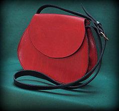 Kabelky - Kožená kabelka v červeném melíru - 6473764_