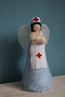 Dekorácie - Anjelik sestrička s babätkom - 6474880_