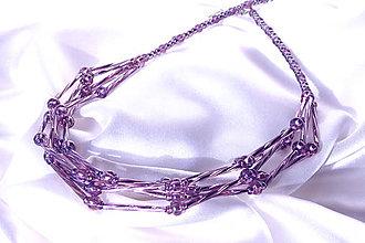 Náhrdelníky - Náhrdelník  staroružový päťradový z točených tyčiniek - 6474364_