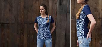 Tričká - Tričko lastovička I - modrotlač - 6475217_
