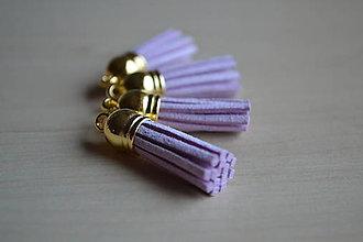Polotovary - Kožený strapec lila (zlato), 35mm, 0.28€/ks - 6474455_