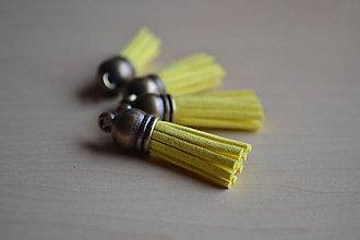 Polotovary - Kožený strapec žltý (bronz), 35mm, 0.28€/ks - 6474515_