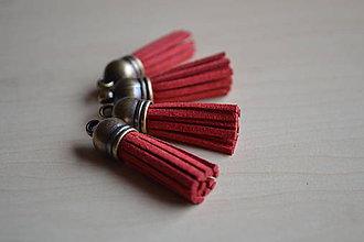Polotovary - Kožený strapec červený (bronz), 35mm, 0.28€/ks - 6474632_