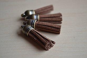 Polotovary - Kožený strapec hnedý (bronz), 35mm, 0.28€/ks - 6475772_