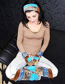 Čiapky - navleky ,rukavice a čelenka -hnedo tyrkys - 6481753_