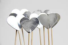 Dekorácie - Napichovátka /// srdíčka zrcadlová stříbrná - 6479360_