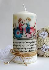 Svietidlá a sviečky - Dekoračná sviečka - zaľúbenci - 6480436_