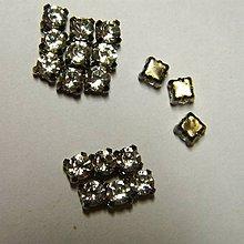 Iný materiál - štrasové kamienky kruhové 4 mm sklenené (šedá) - 6482469_