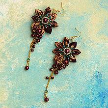 Náušnice - Náušnice so strapcami perál (Bordovo-zlato-tyrkysové) - 6480188_