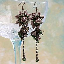 Náušnice - Náušnice so strapcami perál (Malé hnedo-zelené) - 6480406_
