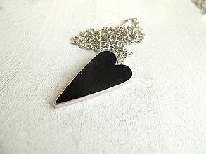 Náhrdelníky - Srdce čierne - 6484739_