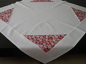 Úžitkový textil - Obrus - Ružové tulipány s bielou paspulkou - 6485795_