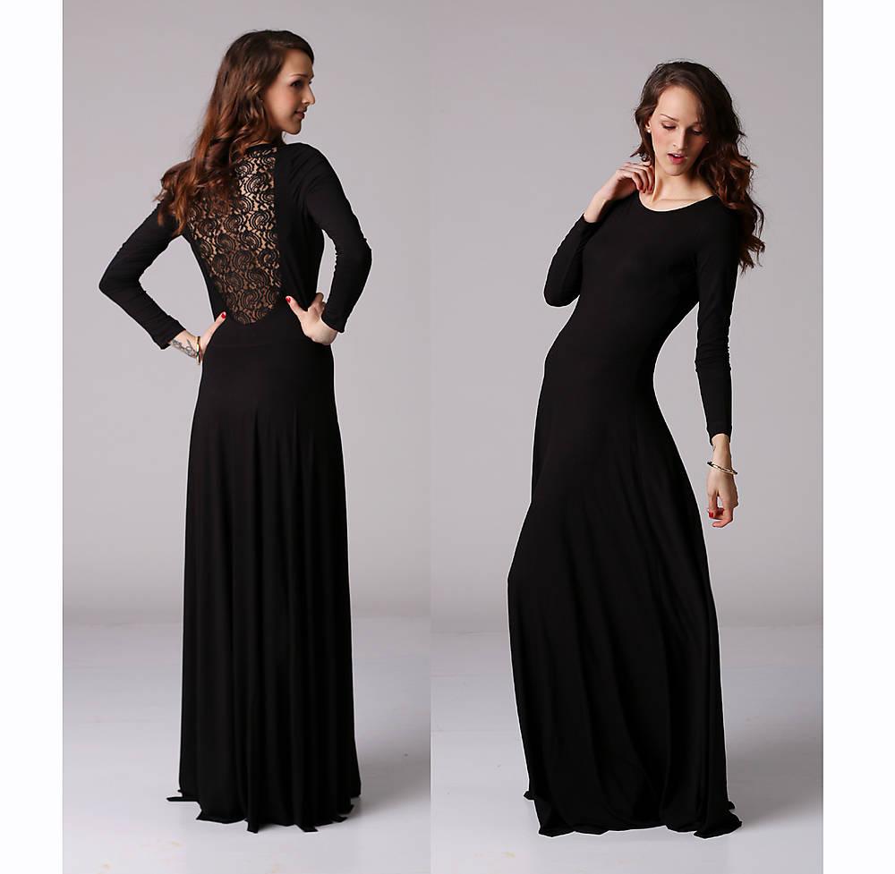 Dlhé šaty s čipkou na chrbte   ZuzanaZachar - SAShE.sk - Handmade Šaty 62e37bb292b