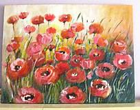 Obrazy - Sýtočervené kvety - 6485135_