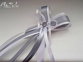 Pierka - svadobné pierko šedá & biela  pre starostu - 6483340_