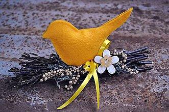 Dekorácie - Plamienok: Dekorácia vtáčik - 6484637_