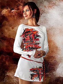 Šaty - Biele šaty s výrazným motívom - Abstract White - 6485062_