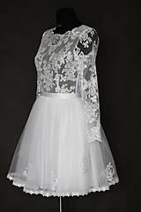 Šaty - Krátke tylové svadobné šaty s dlhým rukávom - 6485510_