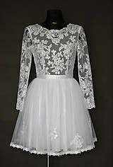 Šaty - Krátke tylové svadobné šaty s dlhým rukávom - 6485511_