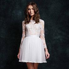 Šaty - Krátke tylové svadobné šaty s dlhým rukávom - 6485533_