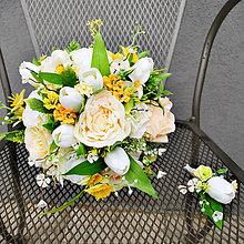Kytice pre nevestu - Svadobná kytica,svieža jarná s tulipánmi - 6491150_