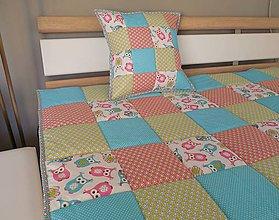 Úžitkový textil - prehoz na posteľ tyrkysová / sovička 140x200cm - 6491981_