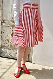 Sukne - Pruhovaná sukně s kapsy - 6489758_