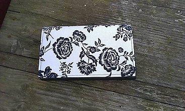 Peňaženky - Kvietkovaná peňaženka na 6 kariet,koženka+bavlna - 6489267_