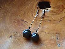 Náušnice - Keramické náušnice - kuličky černé dlouhé - 6488906_