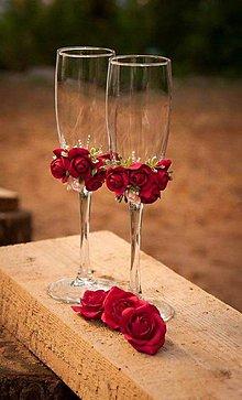 Nádoby - Svadobné poháre v červenom - 6490435_