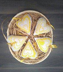 Dekorácie - Srdiečko žlté - 6490372_