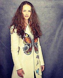 Kabáty - Hodvábny kabátik s motýľom-Zľava 70%!!! - 6490764_