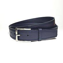 Doplnky - Luxusný pánsky kožený opasok č. 11 (max. 135cm) - vypuklý efekt - 3 vrstvy kože - modrý - 6492993_