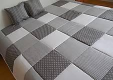 svadobný dar prehoz na posteľ šedo - snehovo - biela
