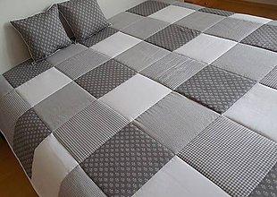Úžitkový textil - svadobný dar prehoz na posteľ šedo - snehovo - biela - 6493454_