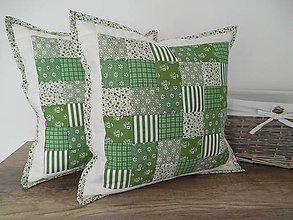 Úžitkový textil - Patchwork vankúš  smotanovo - olivovo - zelený - 6493587_