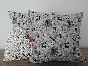 Úžitkový textil - vankúš 40 x 40 cm šedý - mačka - 6493807_