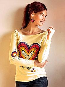 Tričká - Žlté tričko - Srdce dúhové - 6495675_
