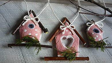 Dekorácie - Jarná dekorácia - vtáčie búdky 3 ks - 6493041_