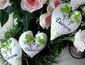 Darčeky pre svadobčanov - srdiečka Vtáčiky v limetkovej.... - 6497143_
