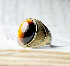Prstene - Antique Tiger Eye / Prsteň s tigrím okom v bronzovom prevedení - 6499136_