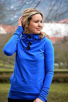 Mikiny - Modrá mikina s knoflíky - vyber si svou barvu! - 6499875_