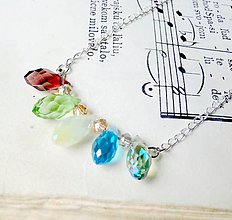 Náhrdelníky - Smooth Crystals / Náhrdelník s farebnými brioletkami - 6500142_