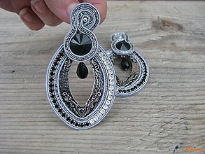 Náušnice - Hoop Collection - Black/Silver ...soutache - 6501633_