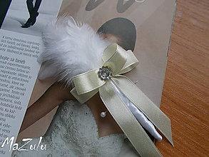Pierka - svadobné pierko maslovoBiele - 6503935_