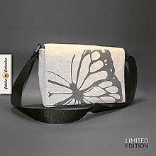 Veľké tašky - Do Divočiny! - Motýľ z plátna ručne vyrobená dámska EKO taška cez plece v limitovanej edícii Motýľ - 6501253_